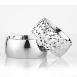 10Mm Klasik Bombeli Gümüş Alyans Çifti Bkl108 - Thumbnail