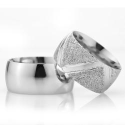 10Mm Klasik Bombeli Gümüş Alyans Çifti Bkl118 - Thumbnail