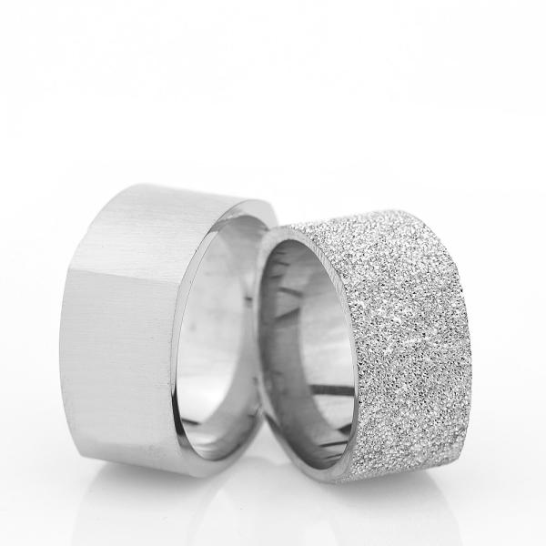 10Mm Klasik Köşeli Gümüş Alyans Çifti Kl107