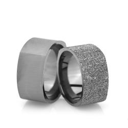 10Mm Klasik Köşeli Gümüş Alyans Çifti Kl107 - Thumbnail