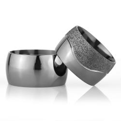 12Mm Klasik Bombeli Gümüş Alyans Çifti Bkl102 - Thumbnail