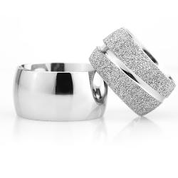 12Mm Klasik Bombeli Gümüş Alyans Çifti Bkl109 - Thumbnail
