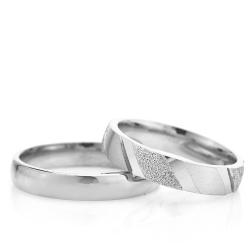 4Mm Klasik Bombeli Gümüş Alyans Çifti Bkl112 - Thumbnail