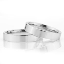 4Mm Klasik Düz Gümüş Alyans Çifti Dkl101 - Thumbnail