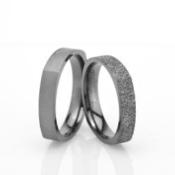 4Mm Klasik Köşeli Gümüş Alyans Çifti Kl107 - Thumbnail
