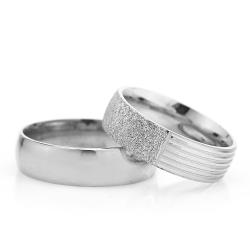 6Mm Klasik Bombeli Gümüş Alyans Çifti Bkl106 - Thumbnail