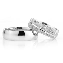 6Mm Klasik Bombeli Gümüş Alyans Çifti Bkl109 - Thumbnail