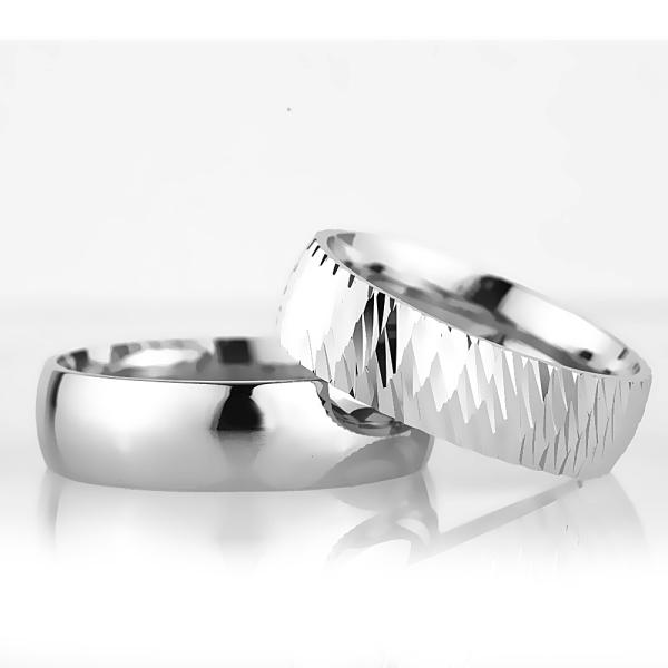 6Mm Klasik Bombeli Gümüş Alyans Çifti Bkl110