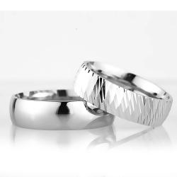 6Mm Klasik Bombeli Gümüş Alyans Çifti Bkl110 - Thumbnail