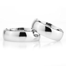 6Mm Klasik Bombeli Gümüş Alyans Çifti Bkl117 - Thumbnail