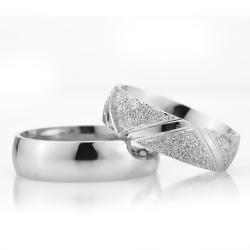 6Mm Klasik Bombeli Gümüş Alyans Çifti Bkl118 - Thumbnail