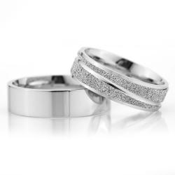 6Mm Klasik Düz Gümüş Alyans Çifti Dkl105 - Thumbnail