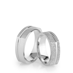 6Mm Klasik Köşeli Gümüş Alyans Çifti Kl101 - Thumbnail