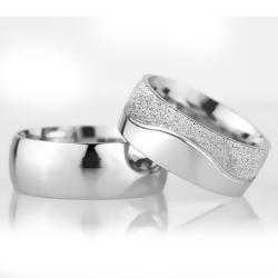 8Mm Klasik Bombeli Gümüş Alyans Çifti Bkl102 - Thumbnail