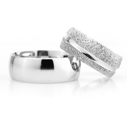 8Mm Klasik Bombeli Gümüş Alyans Çifti Bkl109 - Thumbnail