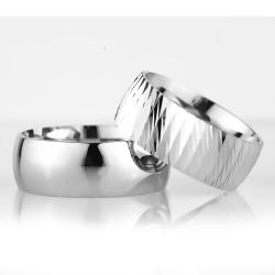 8Mm Klasik Bombeli Gümüş Alyans Çifti Bkl110 - Thumbnail