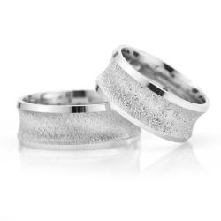 8Mm Klasik Bombeli Gümüş Alyans Çifti Bkl114 - Thumbnail