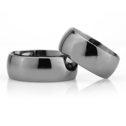 8Mm Klasik Bombeli Gümüş Alyans Çifti Bkl117 - Thumbnail