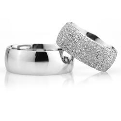 8Mm Klasik Bombeli Gümüş Alyans Çifti Bkl121 - Thumbnail