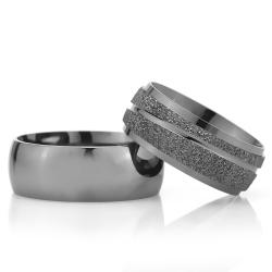8Mm Klasik Bombeli Gümüş Alyans Çifti Bkl125 - Thumbnail