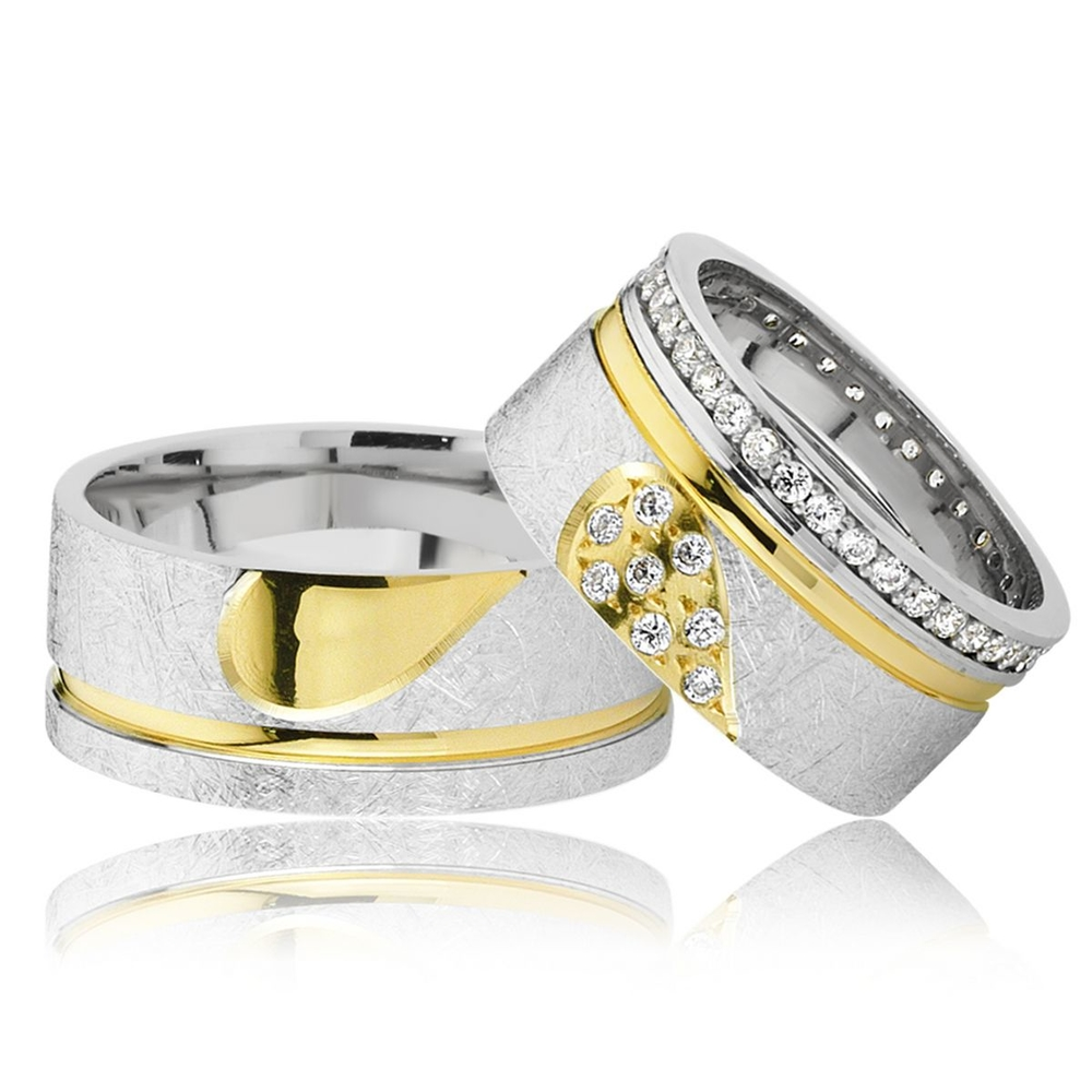 Altın Kaplama Birleşen Kalpli Çift Gümüş Alyans Klp102