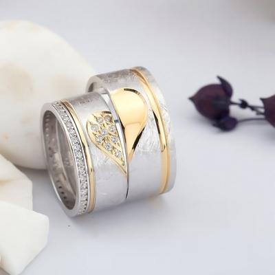 Altın Kaplama Birleşen Kalpli Çift Gümüş Alyans Klp102 - Thumbnail