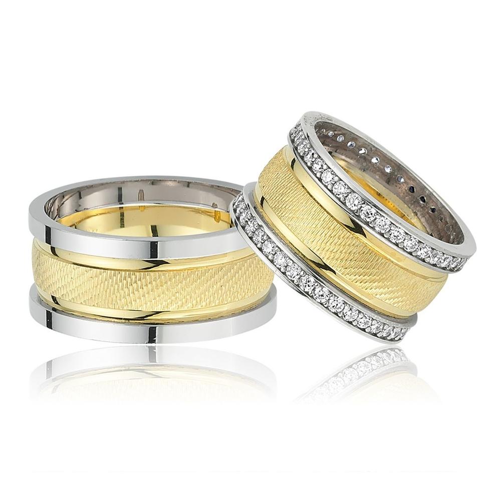 Altın Kaplama Çift Gümüş Alyans Cp103
