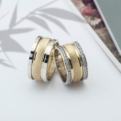 Altın Kaplama Çift Gümüş Alyans Cp103 - Thumbnail