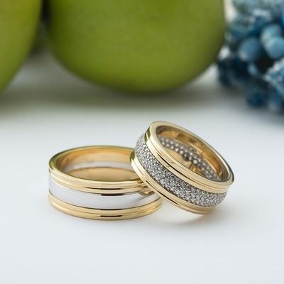 Altın Kaplama Çift Gümüş Alyans Pd102 - Thumbnail