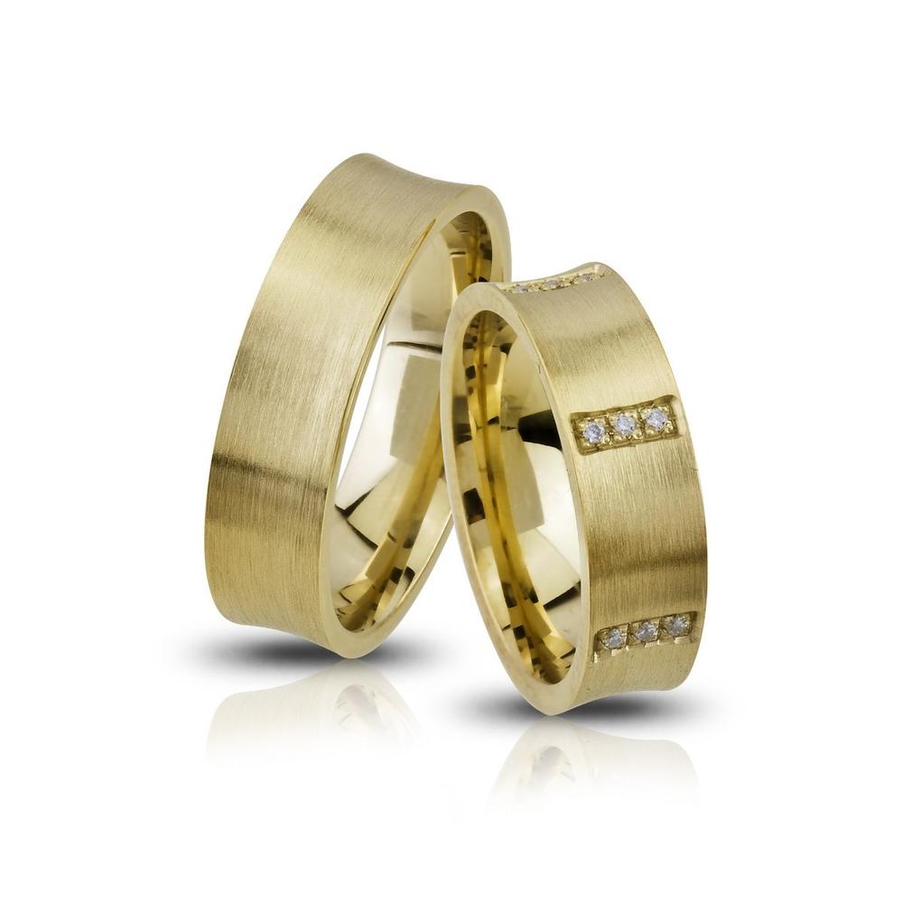 Altın Kaplama Gümüş Çift Alyans Ea103