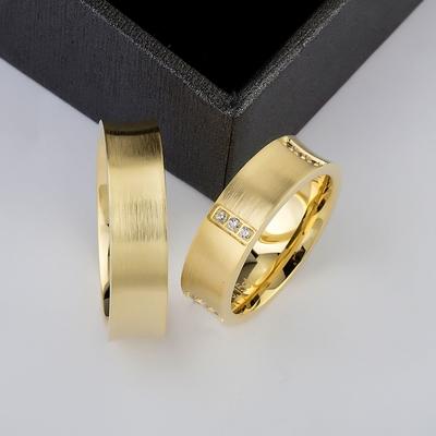 Altın Kaplama Gümüş Çift Alyans Ea103 - Thumbnail