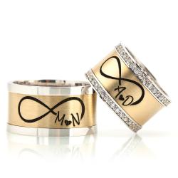 Altın Kaplama Harfli Çift Gümüş Alyans Na125 - Thumbnail