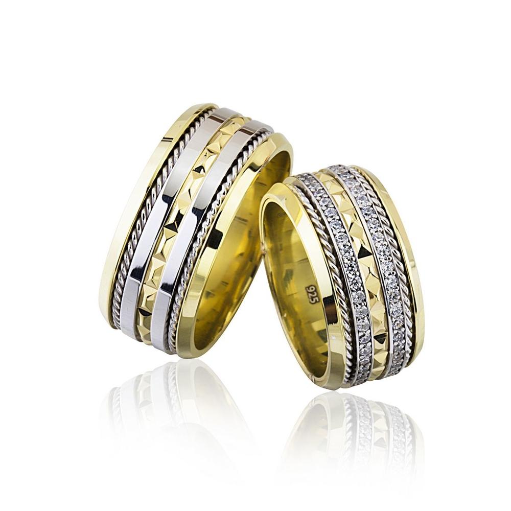 Altın Kaplama Telli Tasarım Gümüş Alyans Tl102