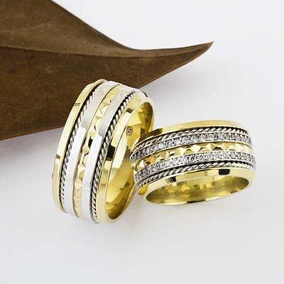 Altın Kaplama Telli Tasarım Gümüş Alyans Tl102 - Thumbnail