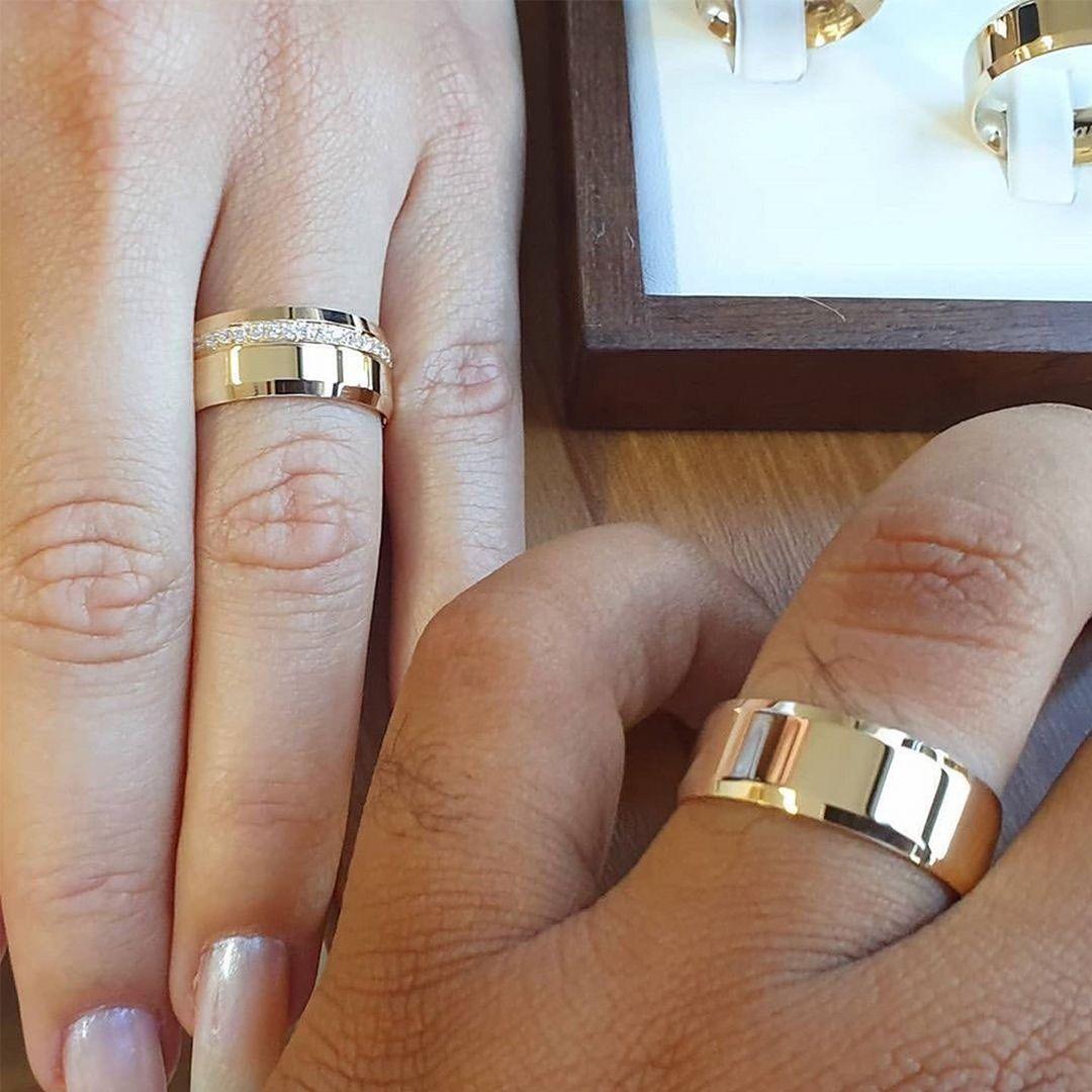 Altın Kaplama Zarif Tasarım Çift Gümüş Alyans Gka138