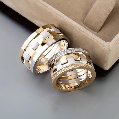 Altın Ve Gümüş Kaplama Gümüş Alyans Ra160 - Thumbnail