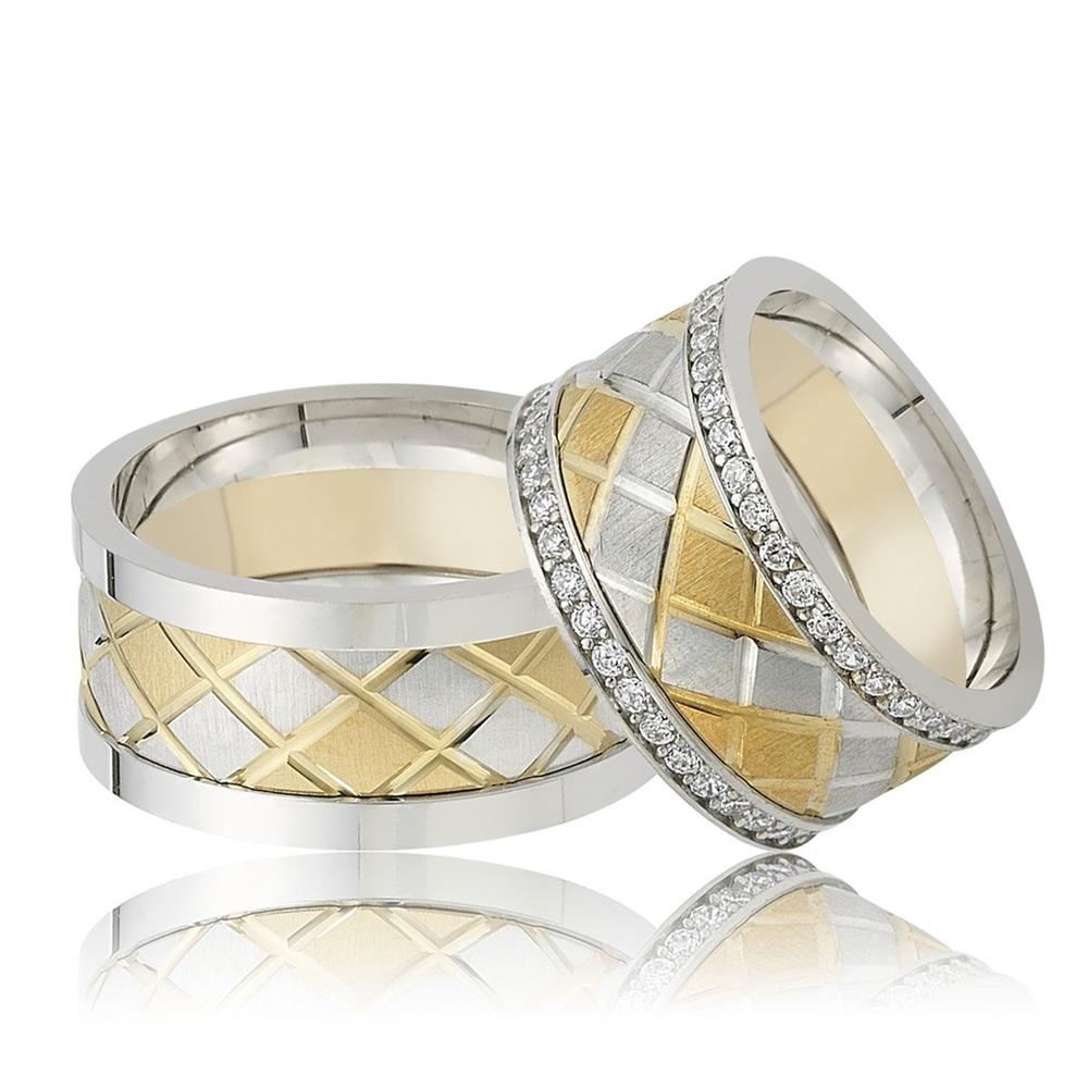 Altın Ve Gümüş Renk Çizgili Çift Alyans Pa112