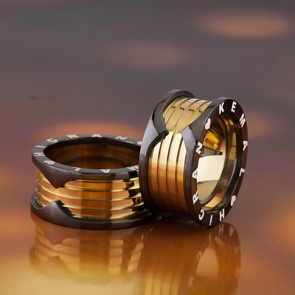 Altın Ve Siyah Renk İsimli Ve Tarihli Gümüş Alyans Bv105