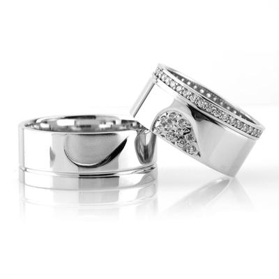 Birleşen Kalp Motifli Çift Gümüş Alyans Çifti Klp101 - Thumbnail