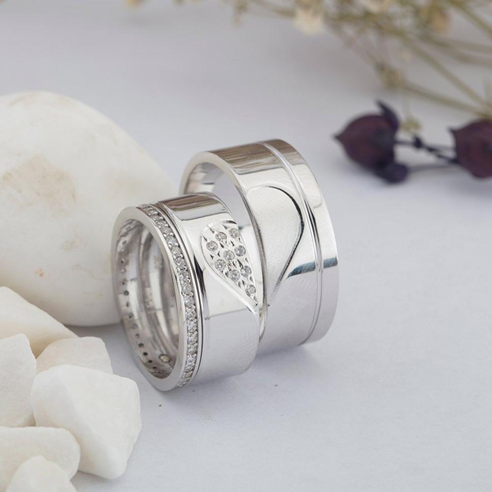 Birleşen Kalp Motifli Çift Gümüş Alyans Çifti Klp101