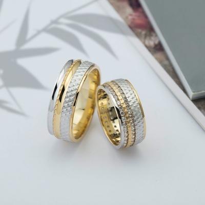 Çift Sıra Taşlı Altın Kaplama Çift Gümüş Alyans Dc101 - Thumbnail