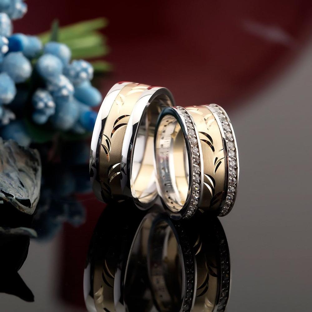 Desenli Altın Kaplama Gümüş Alyans Pa104
