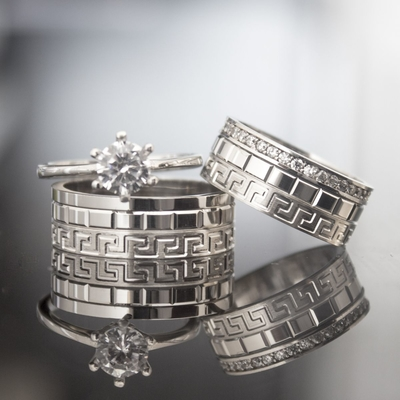 Grek Tasarım Gümüş Çift Alyans Cp106 - Thumbnail