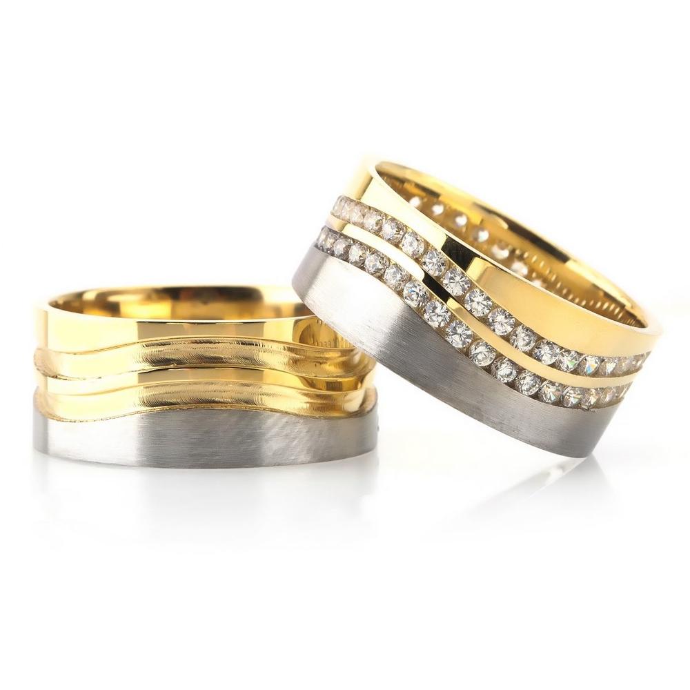 Özel Tasarım Altın Kaplama Gümüş Alyans Da106