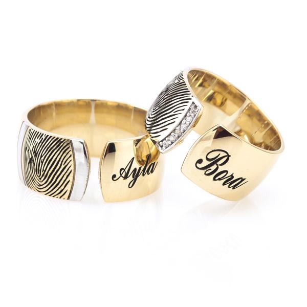 Parmak İzi Altın Kapalma İsimli Alyans Çifti Na131