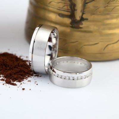 Sade ve Şık Tasarım Çift Gümüş Alyans Da107 - Thumbnail