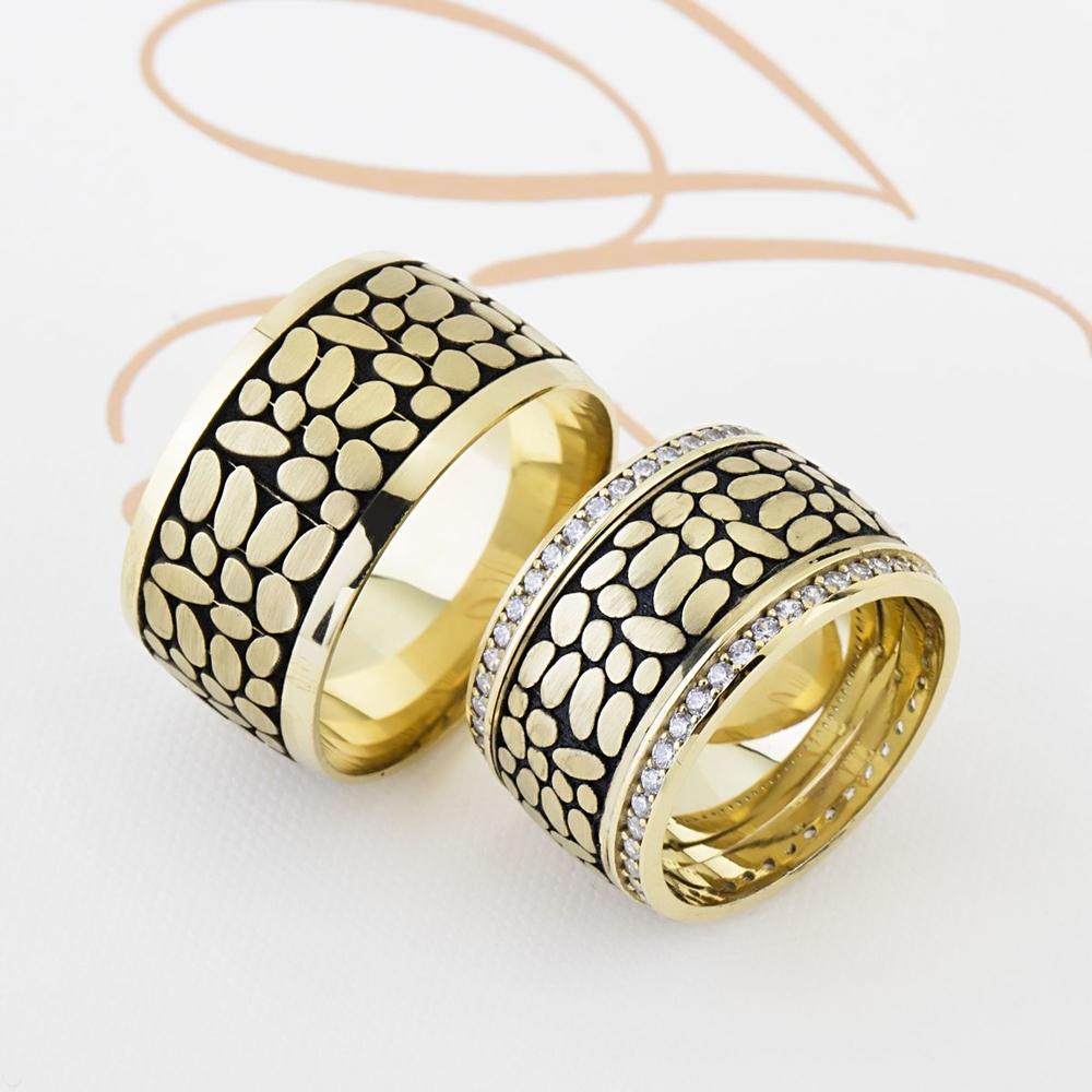 Sarı Siyah Renkli Çift Gümüş Alyans Pl104