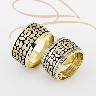 Sarı Siyah Renkli Çift Gümüş Alyans Pl104 - Thumbnail