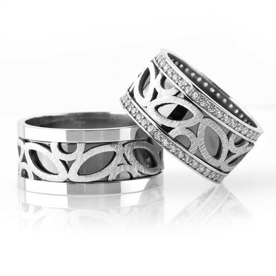Şık Ve Zarif Tasarım Çift Gümüş Alyans Pl101 - Thumbnail