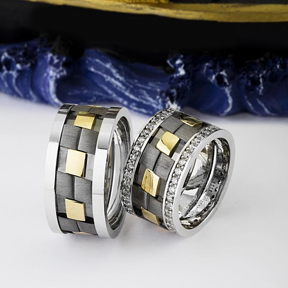 Sıradışı Farklı Tasarım Gümüş Alyans Ra144
